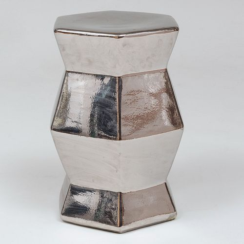 Silvered Pottery Hexagonal Garden Seat, of Recent Manufacture