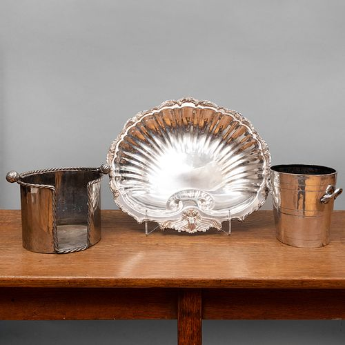 Two Silver Metal Wine Buckets and a Shell Form Bowl