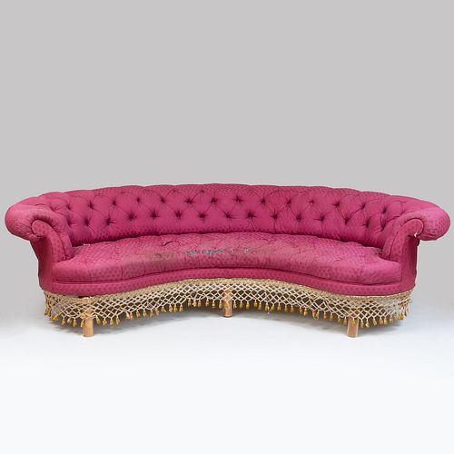 Napolean III Style Tufted Upholstered Kidney-Shaped Sofa