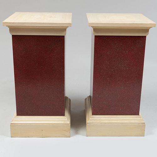 Pair of Painted Faux Porphyry and Cream Columns