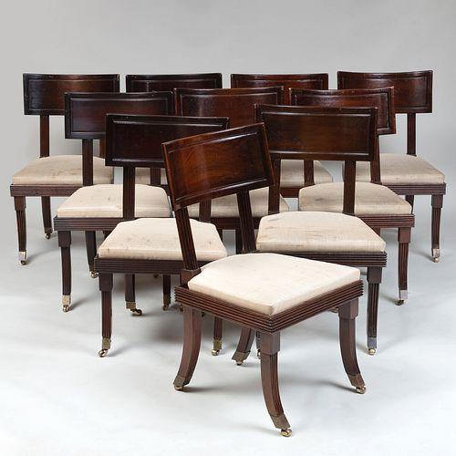 Set of Ten Regency Style Mahogany Dining Chairs