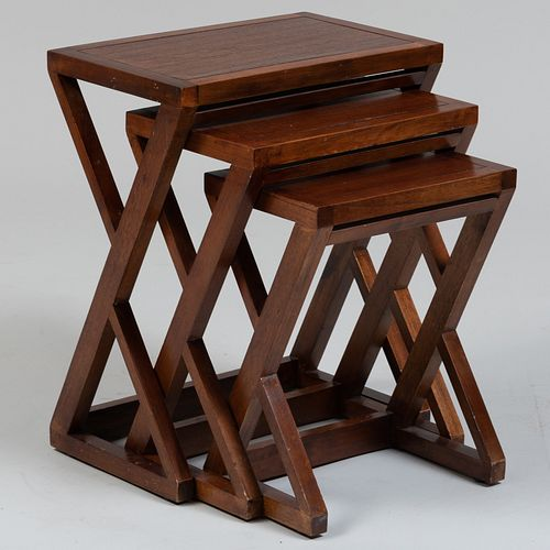 Group of Three Indonesian Hardwood Nesting Tables, Pier 1 Imports