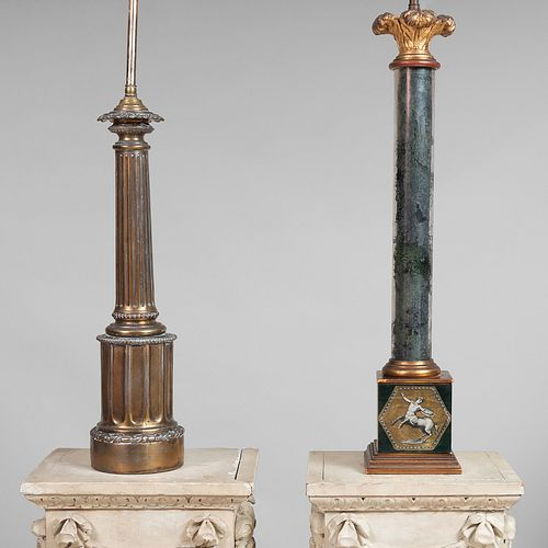Verre Églomisè Columnar Lamp and a Gilt-Metal Columnar Lamp