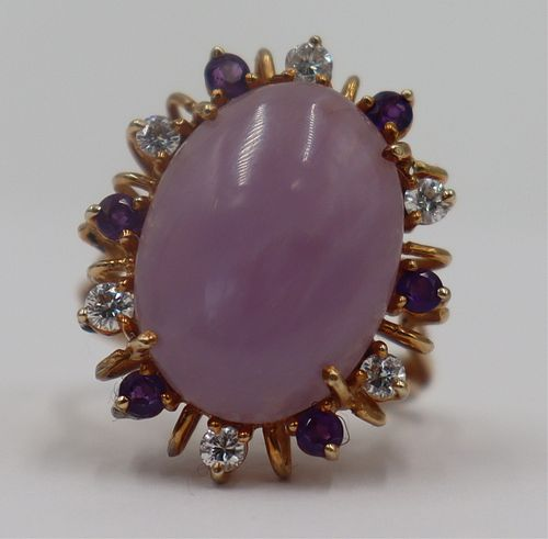 JEWELRY. 14kt Gold, Lavender Jade, Amethyst, and