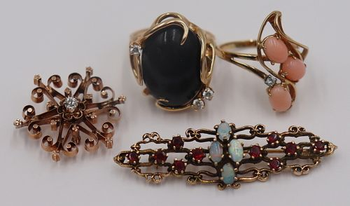 JEWELRY. Assorted Vintage Gold Jewelry Grouping.