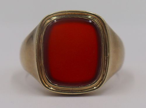 JEWELRY. Tiffany & Co. 14kt Gold & Carnelian Ring.