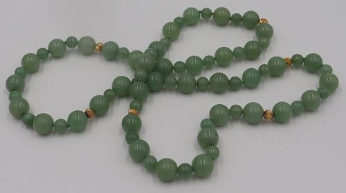 JEWELRY. 14kt Gold and Jade? Beaded Necklace.