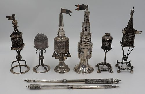 JUDAICA. Grouping of Silver Spice Towers and Torah