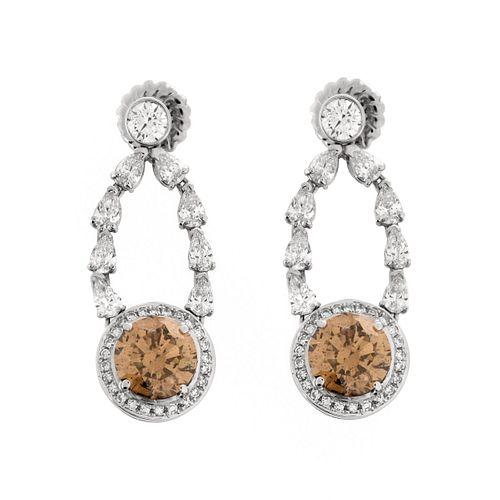 12.80 Carat Fancy Color Diamond Earrings