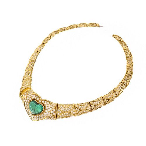 Emerald, Diamond and 18K Necklace