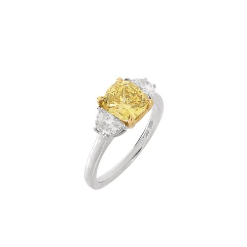 GIA Fancy Vivid Yellow Diamond and 18K Ring