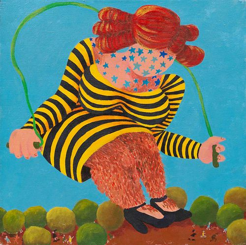 Gladys Nilsson (American, b. 1940) Untitled (Hairy Legged, Star TattooedGiantess in Striped Dress Skipping Rope), c. 1965