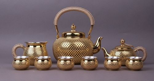 Set Of Japanese Silver Teapot And Cups