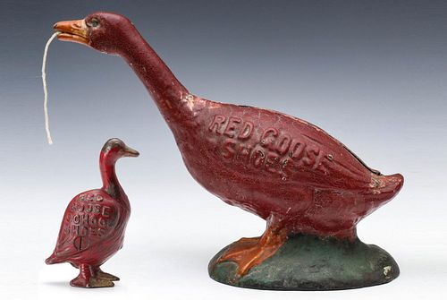 CAST IRON RED GOOSE SHOES STRING HOLDER AND BANK C 1920