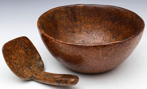 A HIGHLY FIGURED AND HANDSOMELY PATINATED BURL BOWL