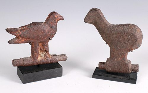 TWO EARLY 20TH CENTURY CAST IRON BIRD SPINNER TARGETS