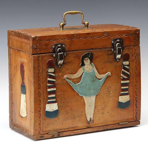 AN AMERICAN CLASSIC FOLK ART BARBER'S BOX CIRCA 1920s