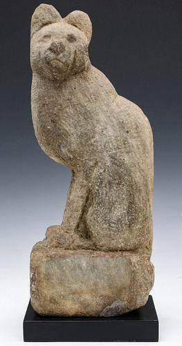 A CARVED LIMESTONE CAT, MANNER OF WILLIAM EDMONDSON