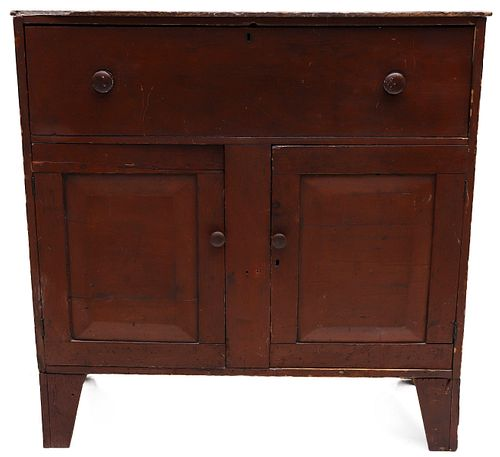 AN EARLY 19TH CENTURY JELLY CUPBOARD IN OLD RED STAIN