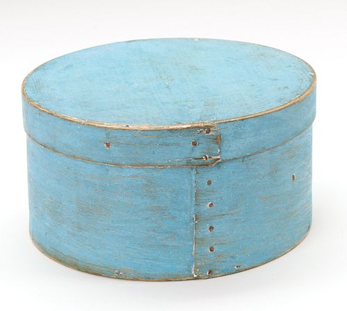 A 19TH CENTURY BENTWOOD PANTRY BOX IN OLD BLUE PAINT