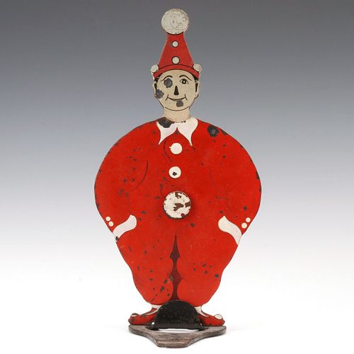 A COLORFUL PIERROT CLOWN SPRING-LOADED GALLERY TARGET