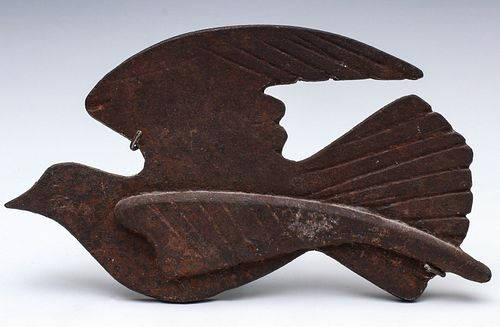 AN EARLY 20TH C. CAST IRON STYLIZED MODEL OF A DOVE