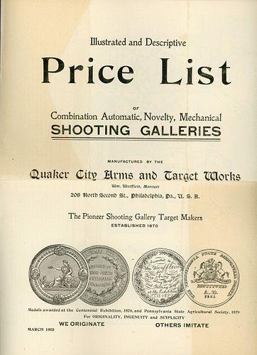 QUAKER CITY SHOOTING GALLERY TRADE CATALOGS, 1900-1914