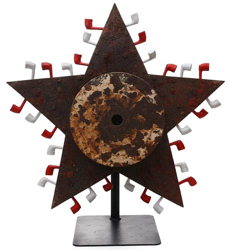 A LARGE RARE ROTATING STAR CAST IRON GALLERY TARGET