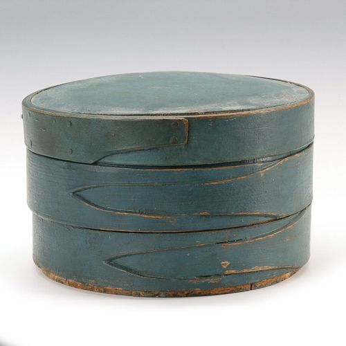 A 19TH CENTURY FIRKIN WITHOUT HANDLE IN OLD BLUE PAINT