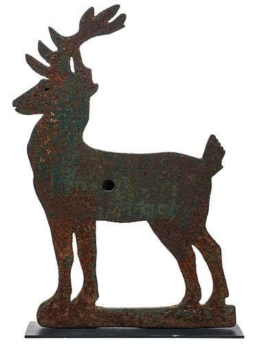 A LARGE AND VERY RARE IRON DEER SHOOTING GALLERY TARGET
