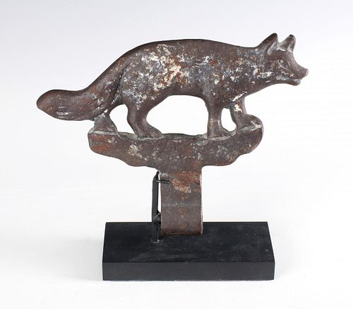 A CAST IRON FOX KNOCKDOWN SHOOTING GALLERY TARGET
