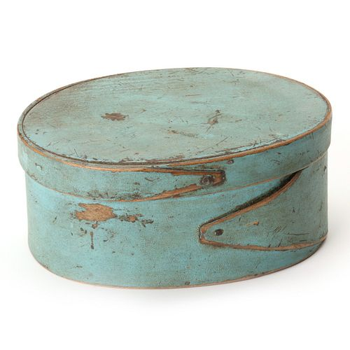 A 19TH CENTURY OVAL PANTRY BOX IN ROBIN'S EGG BLUE
