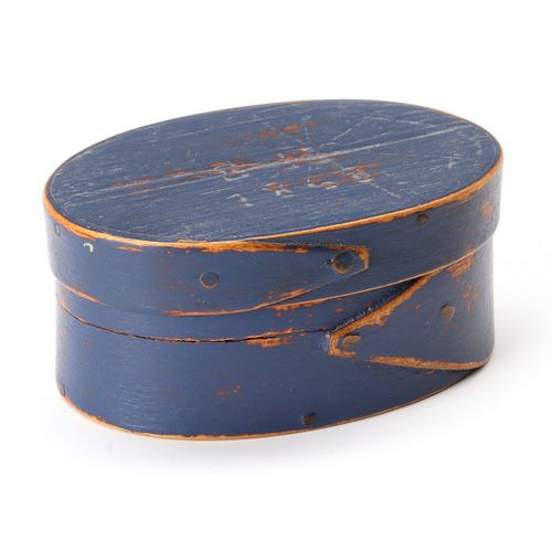 A SIGNED DATED OVAL BOX IN OLD BLUE PAINT ATTR HERSEY