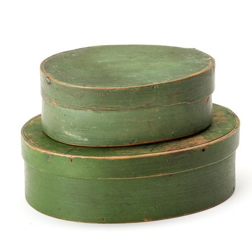 TWO 19TH CENTURY OVAL PANTRY BOXES IN OLD GREEN PAINT