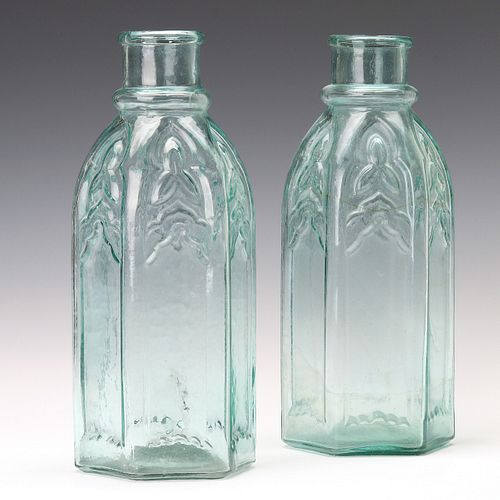 TWO EARLY AMERICAN GOTHIC ARCH CATHEDRAL PICKLE JARS
