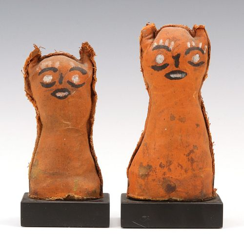 TWO SMALL PAINTED CANVAS FOLK ART KNOCKDOWN DOLLS
