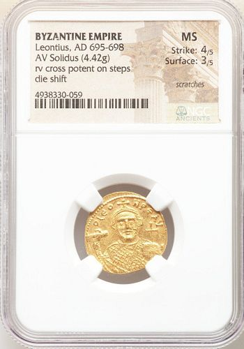 Ancient Byzantine Leontius (AD 695-698).Gold solidus