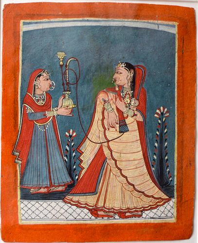 A Important Indian Miniature of A  Nable woman Smoking