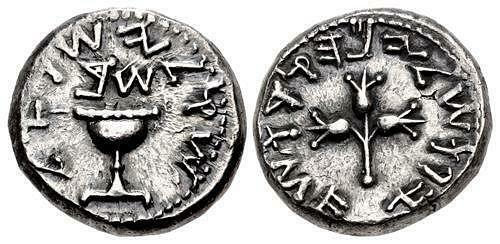 JUDAEA, Jewish War. 66-70 CE. AR Shekel (23mm, 13.84 g,