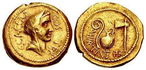 The Caesarians. Julius Caesar. Early 46 BC. AV Aureus