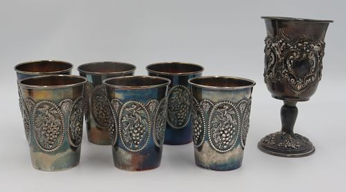 JUDAICA. Group of (6) Sterling Cups and a Goblet.