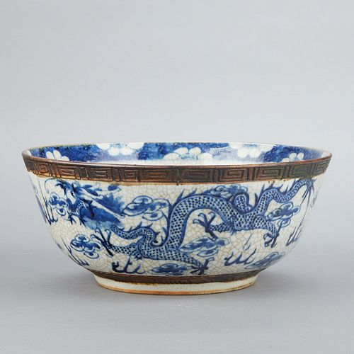 Lrg Chinese Guangxu Porcelain Dragon Bowl w/ Crackle Glaze