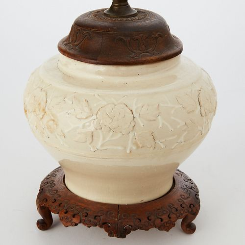 Early Chinese Yuan Style White Glazed Bowl Vase as Lamp w/ Wooden Stand