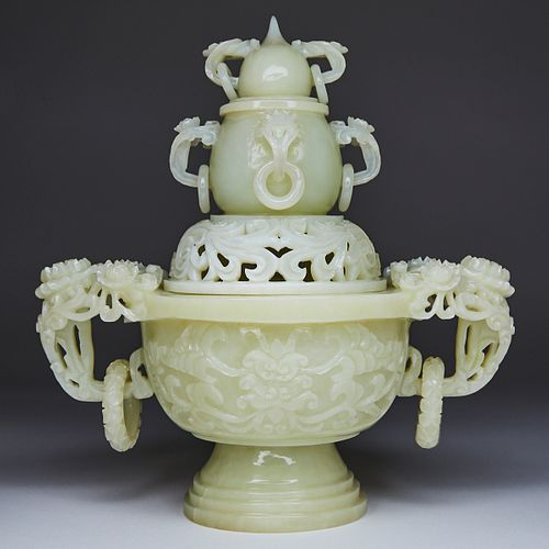 20th c. Chinese Carved Jade Lidded Vase