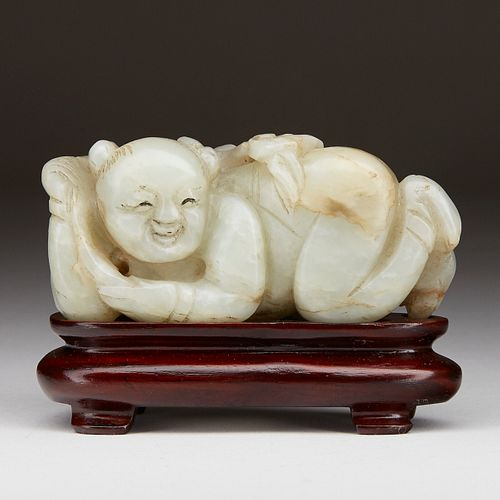 Early Qing Chinese Carved Jade Figure of a Boy
