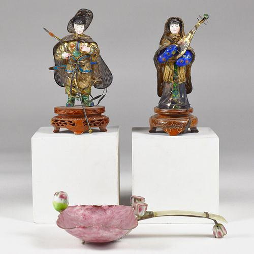 Grp: 3 20th c. Chinese Enamel & Jade Objects