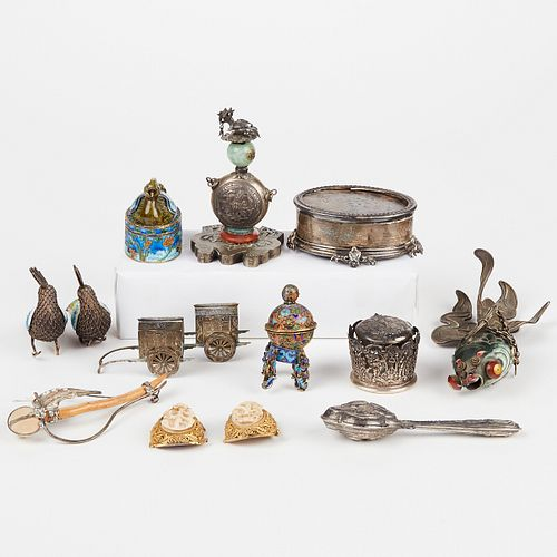 Grp: 20th c. Silver Objects - Many Enameled Chinese