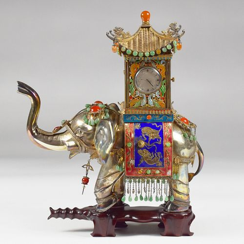 20th c. Enameled Silver Elephant Clock w/ Stand