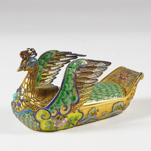 20th c. Chinese Gilt Silver Enamel Peacock Box