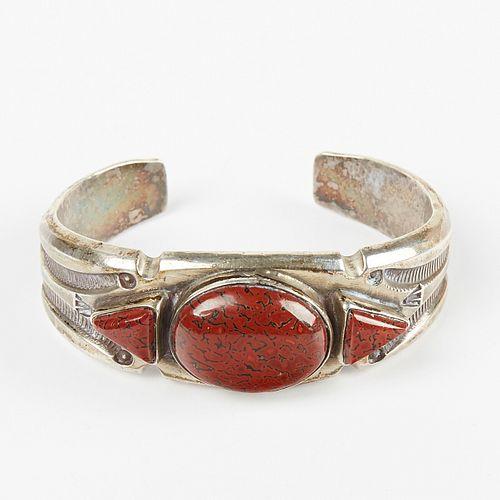 Southwestern Sterling Silver Bracelet w/ Red Gemstone